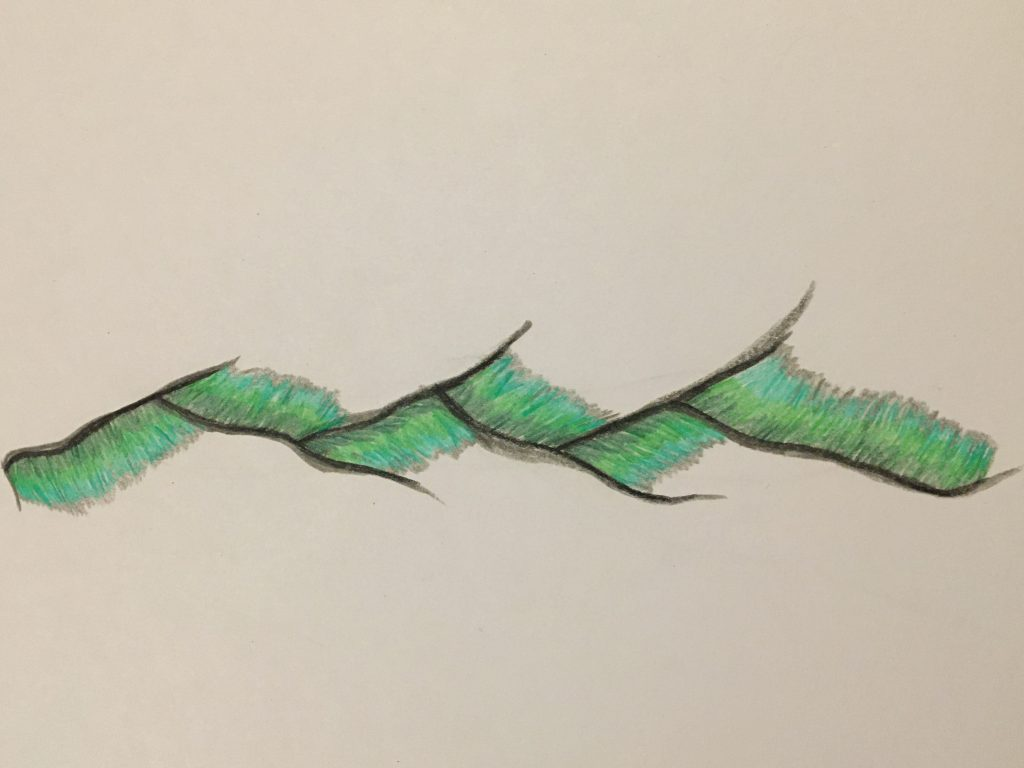 Pencil drawing of cracked lines with green gradients.