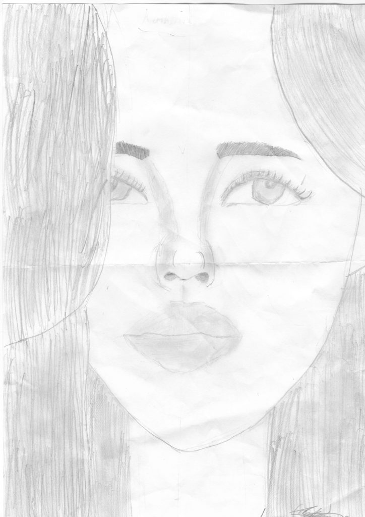 Pencil portrait drawing of a girl with long, straight hair.
