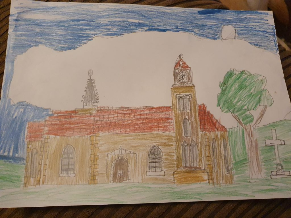 Drawing of a church against a bright, cloudy sky.