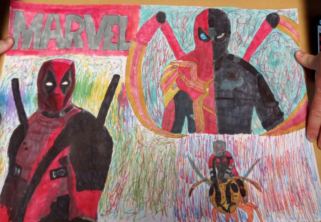 Colour drawing of Marvel characters.