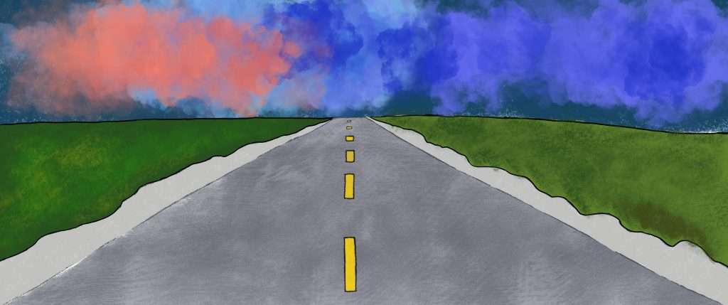 Artwork showing a wide, open road in a flat country landscape.