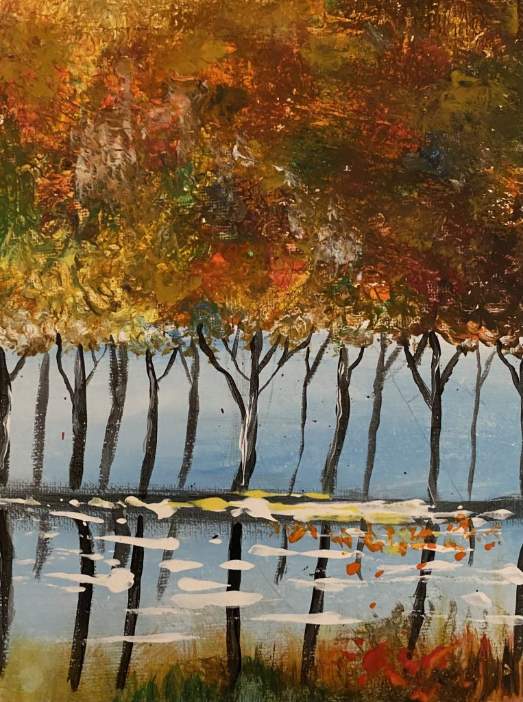 A painting of a row of autumn trees, reflected in water below.