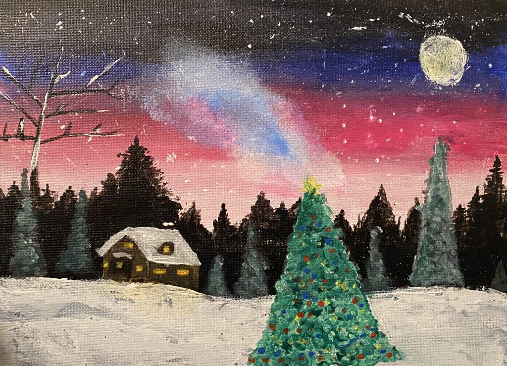 A painting of a snowy winter scene, with a snow covered chalet and large Christmas tree in the foreground.