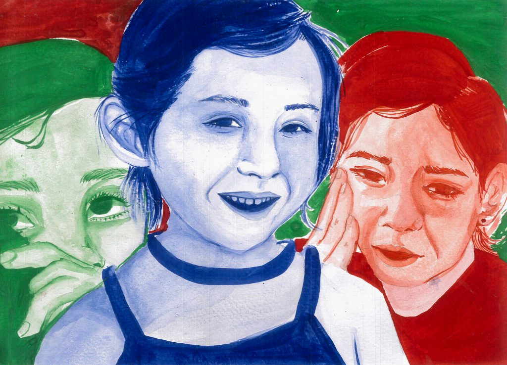 Three overlapping portraits in bold colours.