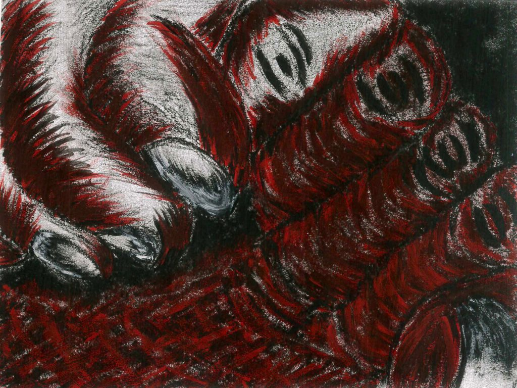 Drawing of hands in red and black.