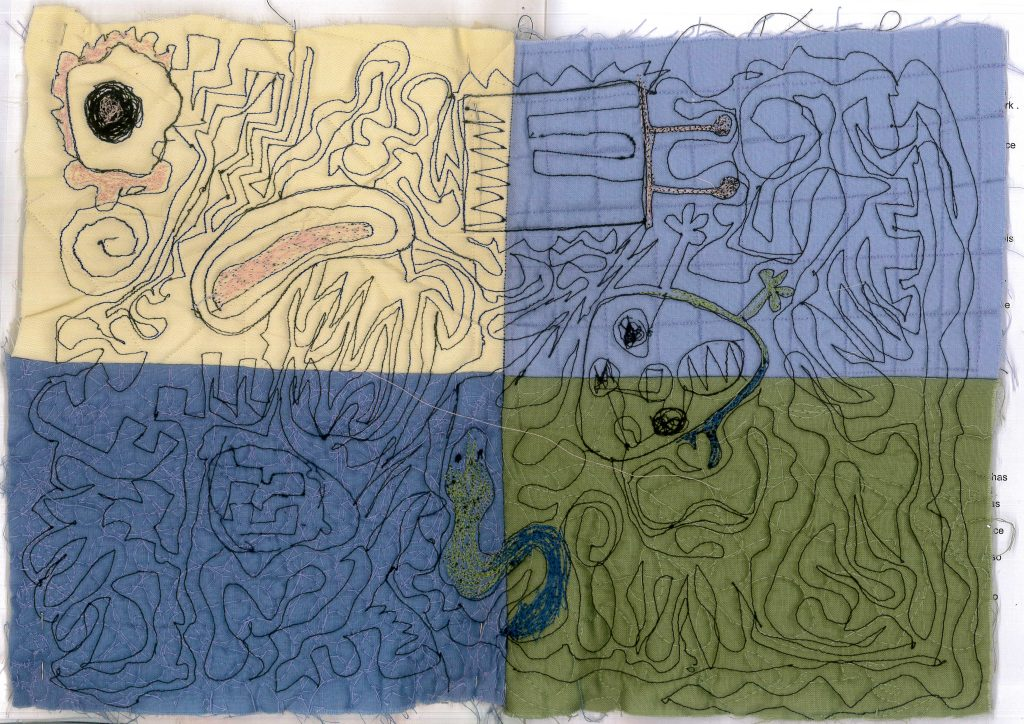 Embroidered abstract drawings on different colour materials.