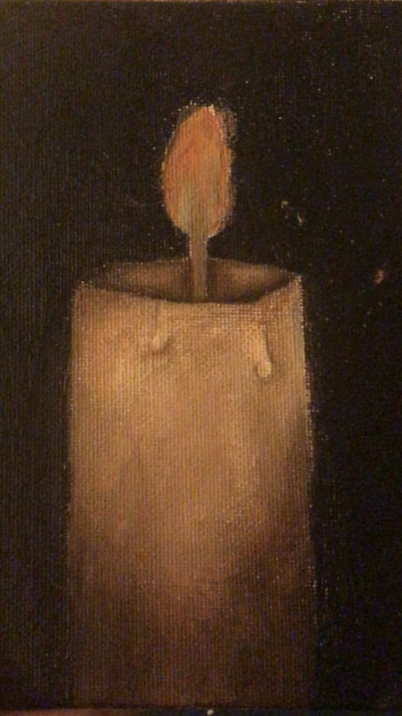 Painting of a tall candle on black.
