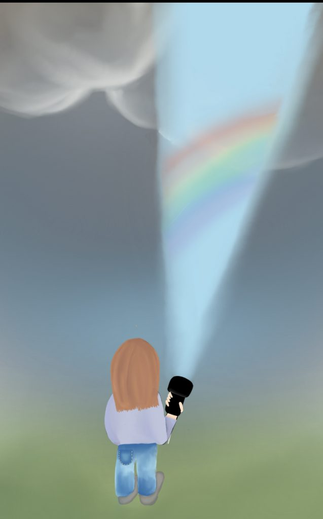 Digital drawing of a figure holding a torch up to reveal a rainbow in the clouds.