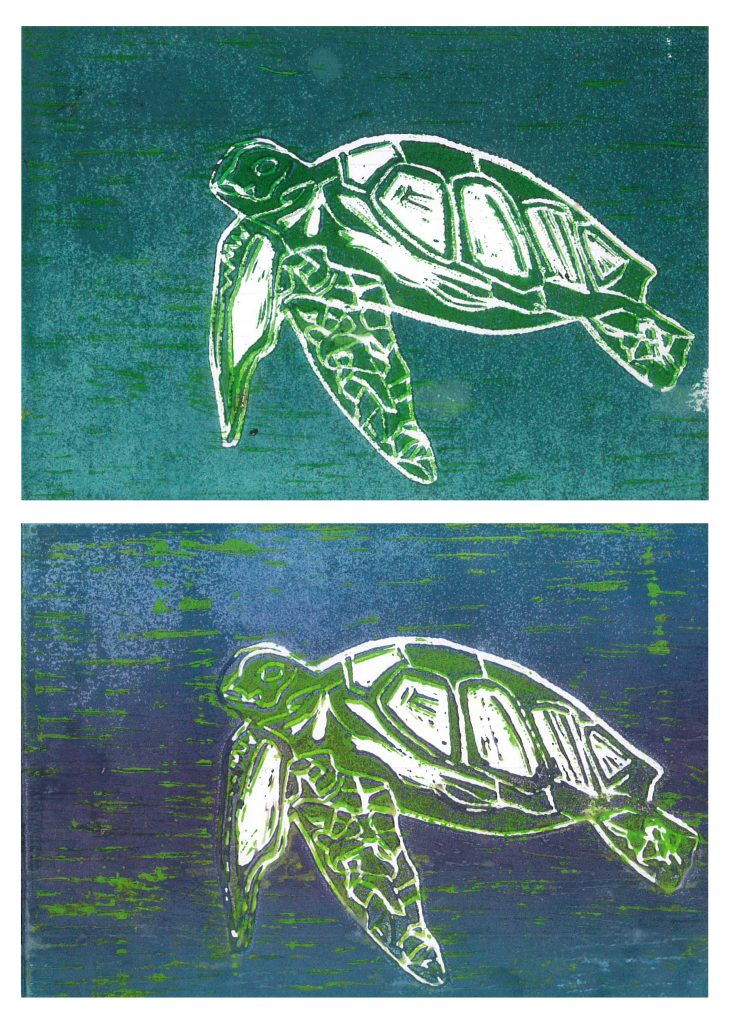 Print of two turtles swimming.