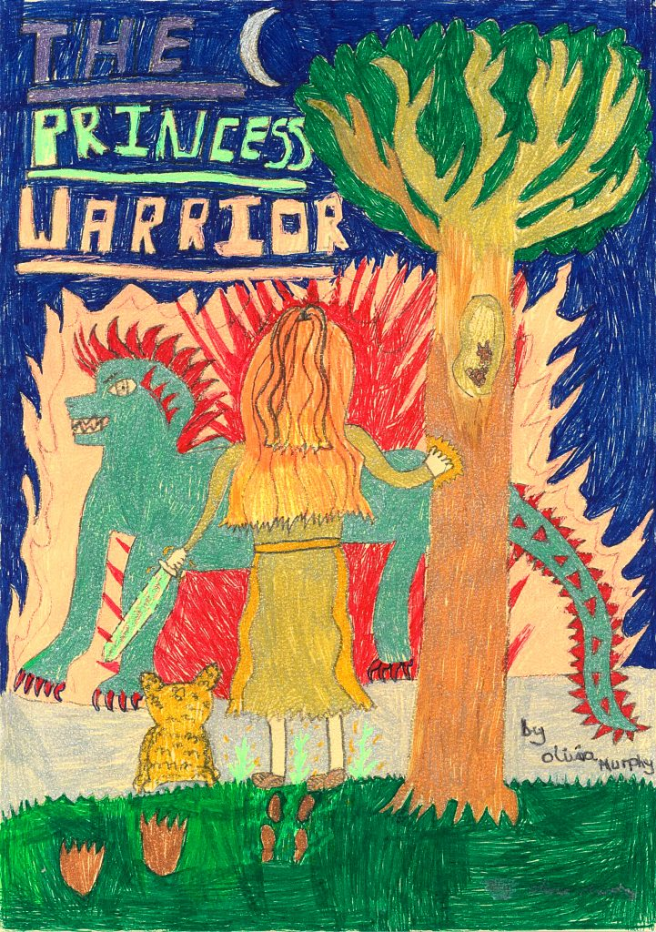 Colourful picture of a book cover, showing a princess warrior stood in front of a large blue dragon.