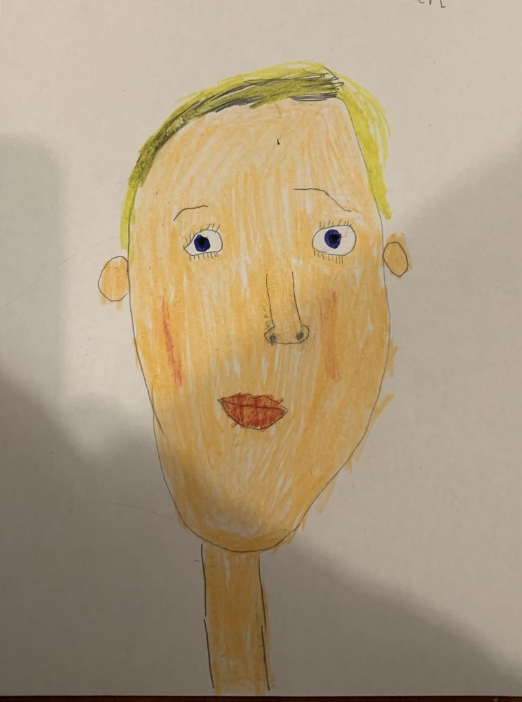 A child's self portrait, with short blonde hair.