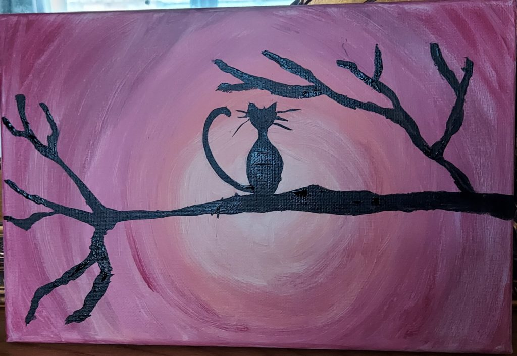 A silhouette painting of a cat sat on a branch, with a warm sun set background.