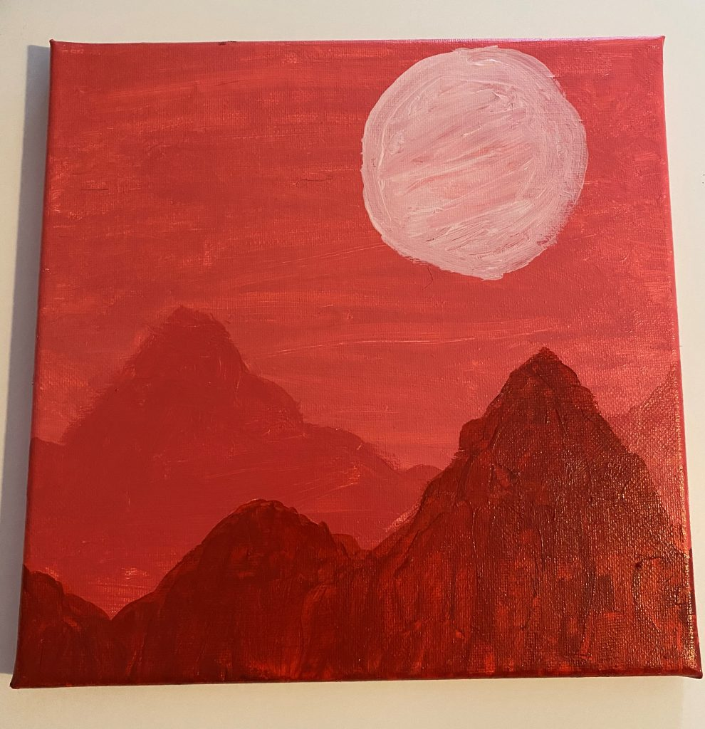 Painting of a mountainous landscape – in red.