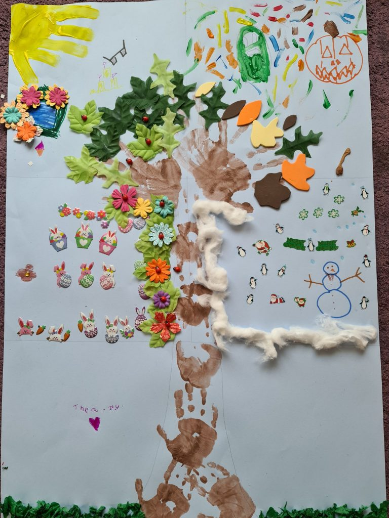 A mixed media artwork of a large tree, showing the four seasons.