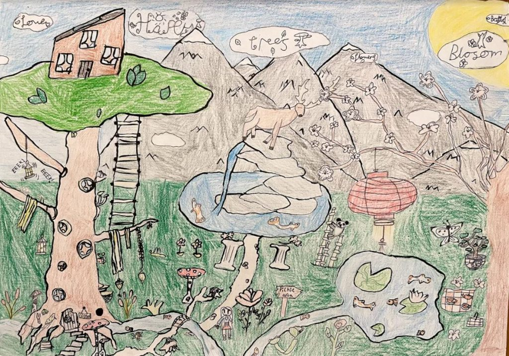 Detailed drawing of a mystical garden, with mountains and a tree house.